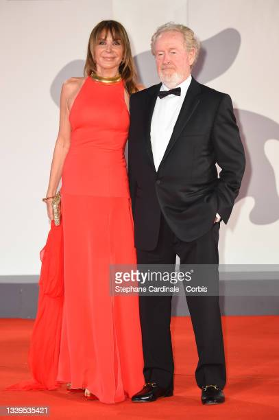 """Ridley Scott and Giannina Facio attend the red carpet of the movie """"The Last Duel"""" during the 78th Venice International Film Festival on September..."""