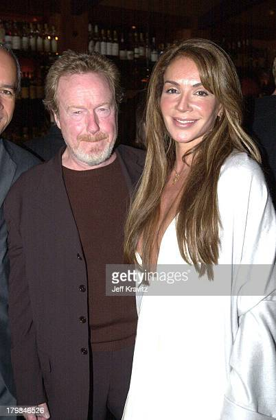Ridley Scott and Giannina Facio during Dreamworks Pre-Oscar Party at Spago in Beverly Hills, California, United States.