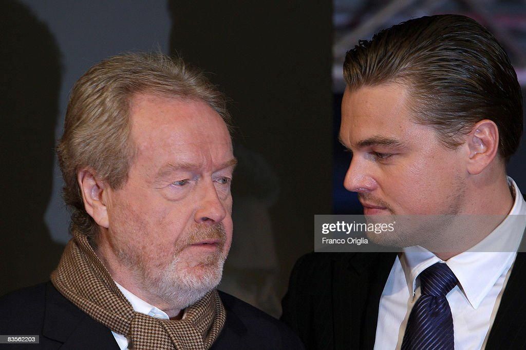 Ridley Scott (L) and Leonardo DiCaprio attend the Body of Lies Italian premiere at the Warner Village Moderno Cinema November 4, 2008 in Rome, Italy.