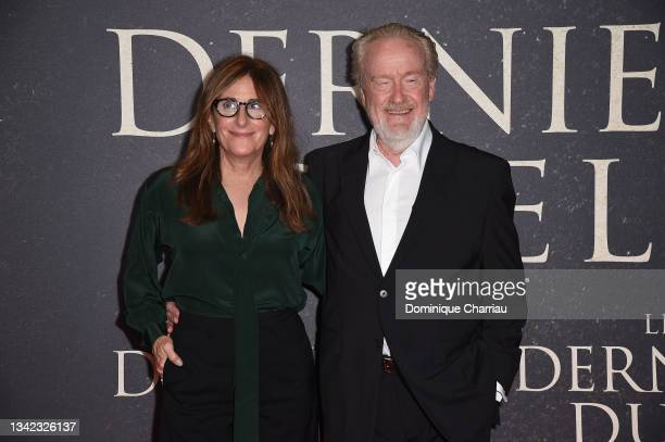 """Ridley Scott and Nicole Holofcener attend the French premiere of 20th Century Studios' """"The Last Duel"""" at cinema Gaumont Champs Elysees on September..."""