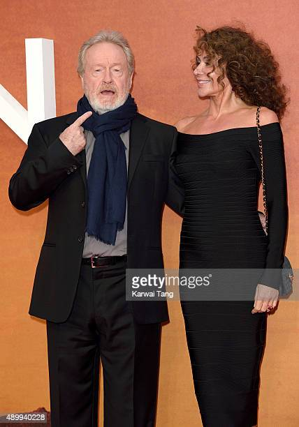 "Ridley Scott and wife Giannina Facio attend the European premiere of ""The Martian"" at Odeon Leicester Square on September 24, 2015 in London, England."