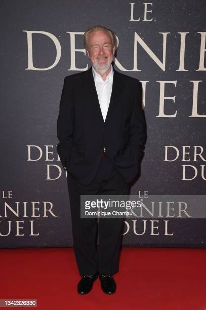 """Ridley Scott attends the French premiere of 20th Century Studios' """"The Last Duel"""" at cinema Gaumont Champs Elysees on September 24, 2021 in Paris,..."""
