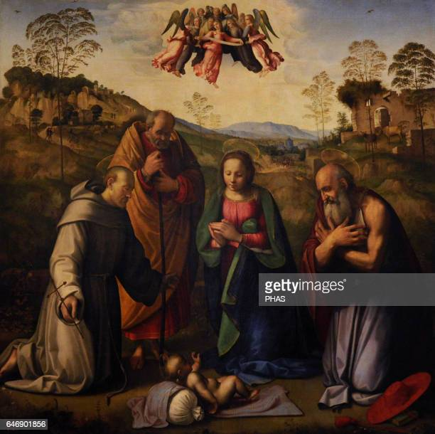 Ridolfo Ghirlandaio Italian Renaissance painter Florentine school The Virgin with Child and Sts Francis and Jerome early 1510s Oil and tempera on...