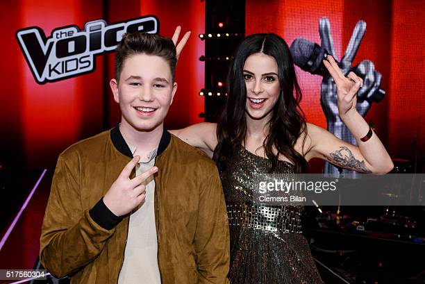 Ridon Jakupi and Lena MeyerLandrut pose during the 'The Voice Kids' Finals on March 25 2016 in Berlin Germany