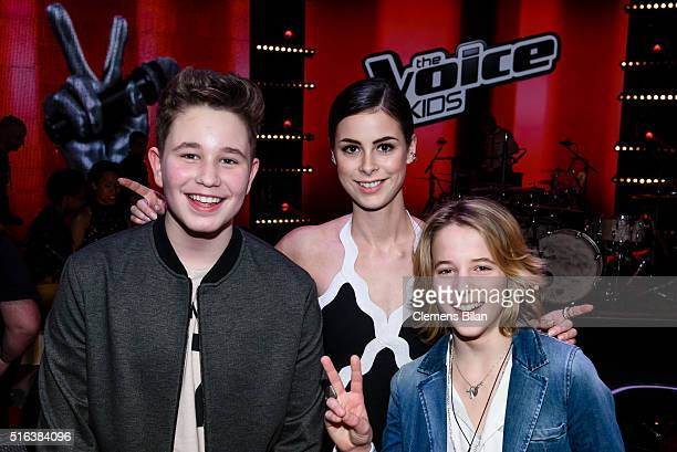 Ridon Lena MeyerLandrut and Matteo Markus attend the 'The Voice Kids' Semi Finals on March 11 2016 in Berlin Germany