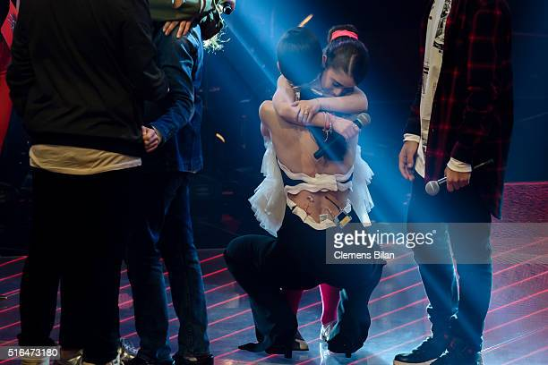Ridon Matteo Markus Lena MeyerLandrut Magdalina and Yassine attend the 'The Voice Kids' Semi Finals on March 11 2016 in Berlin Germany