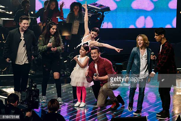 Ridon Melisa Lena MeyerLandrut Magdalina Andreas Gabalier Matteo Markus and Yassine perform during the 'The Voice Kids' Semi Finals on March 11 2016...