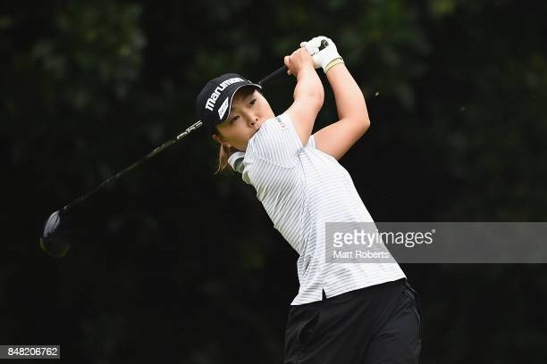 Rie Iwahashi of Japan hits her tee shot on the 2nd hole during the final round of the Munsingwear Ladies Tokai Classic 2017 at the Shin Minami Aichi...