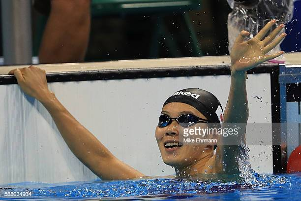 Rie Kaneto of Japan celebrates winning gold in the Women's 200m Breaststroke Final on Day 6 of the Rio 2016 Olympic Games at the Olympic Aquatics...