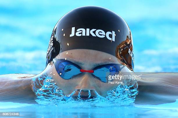 Rie Kaneto of Japan competes in the Women's 200 Metre Breaststroke during the 2016 Aquatic Superseries at HBF Stadium on February 6 2016 in Perth...