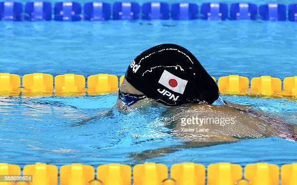 Rie Kaneto of Japan in action during the final women's 200m breaststroke at Olympic Aquatics Stadium on August 11 2016 in Rio de Janeiro Brazil