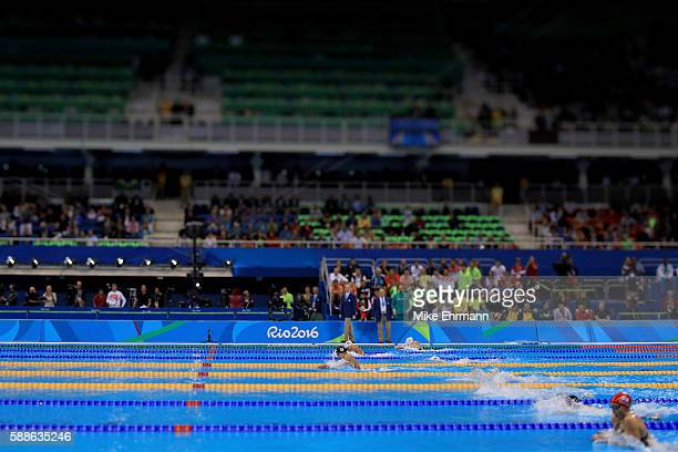 Rie Kaneto of Japan leads the field in the Women's 200m Breaststroke Final on Day 6 of the Rio 2016 Olympic Games at the Olympic Aquatics Stadium on...