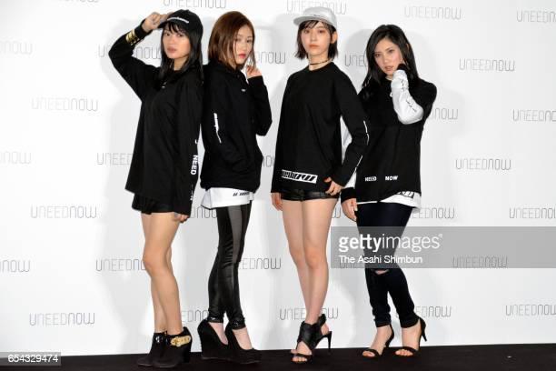 Rie Kitahara of NGT48, Mayu Watanabe of AKB48, Sakura Miyawaki of HKT48 and Ryoha Kitahara of SKE48 pose for photographs during the launching press...