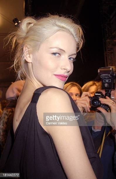 Rie Rasmussen during Mercedes Benz Fashion Week Fall 2003 Collections Matthew Williamson Front Row at Bryant Park in New York City New York United...