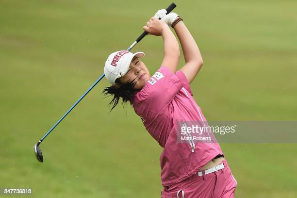 Rie Tsuji of Japan hits her second shot on the 12th hole during the second round of the Munsingwear Ladies Tokai Classic 2017 at the Shin Minami...