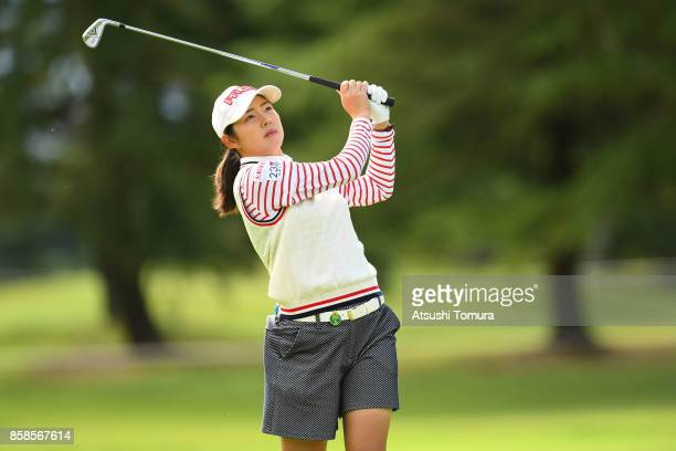 Rie Tsuji of Japan hits her second shot on the 1st hole during the second round of Stanley Ladies Golf Tournament at the Tomei Country Club on...