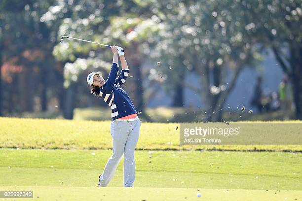 Rie Tsuji of Japan hits her second shot on the 6th hole during the final round of the Itoen Ladies Golf Tournament 2016 at the Great Island Club on...