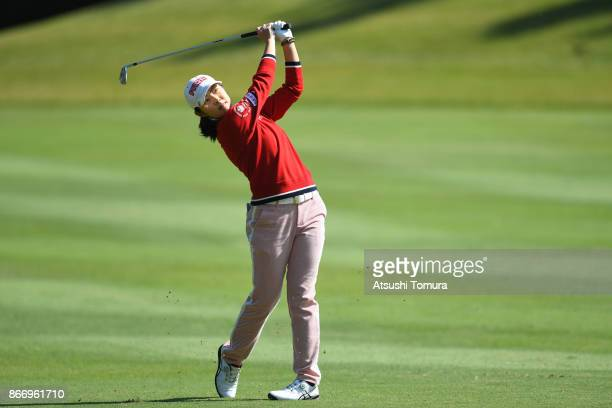 Rie Tsuji of Japan hits her second shot on the 7th hole during the first round of the Higuchi Hisako Ponta Ladies at the Musashigaoka Golf Course on...