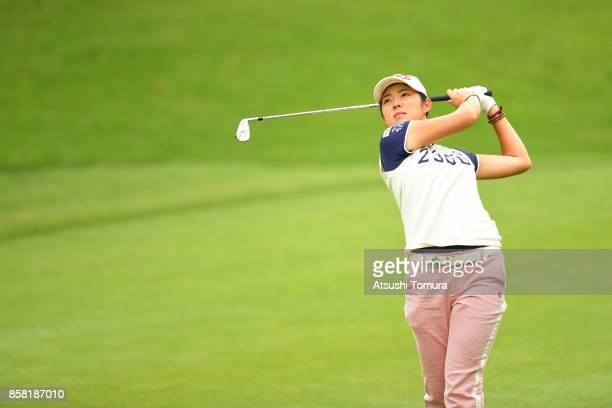 Rie Tsuji of Japan hits her second shot on the 8th hole during the first round of Stanley Ladies Golf Tournament at the Tomei Country Club on October...
