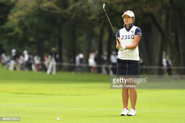 Rie Tsuji of Japan hits her second shot on the 9th hole during the third round of Japan Women's Open 2017 at the Abiko Golf Club on September 30 2017...