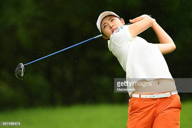 Rie Tsuji of Japan hits her tee shot on the 11th hole during the first round of the Samantha Thavasa Girls Collection Ladies Tournament 2016 at the...