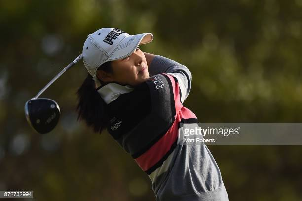 Rie Tsuji of Japan hits her tee shot on the 13th hole during the second round of the Itoen Ladies Golf Tournament 2017 at the Great Island Club on...