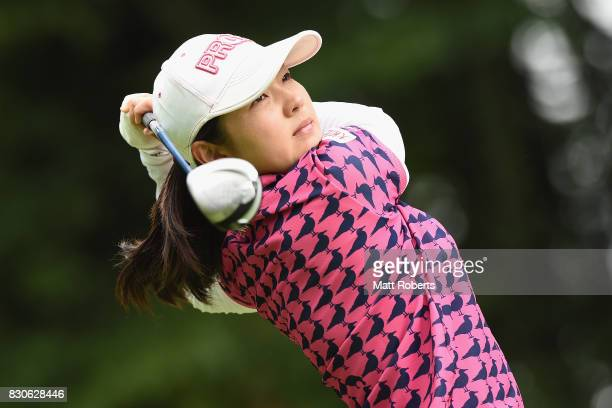 Rie Tsuji of Japan hits her tee shot on the 14th hole during the second round of the NEC Karuizawa 72 Golf Tournament 2017 at the Karuizawa 72 Golf...