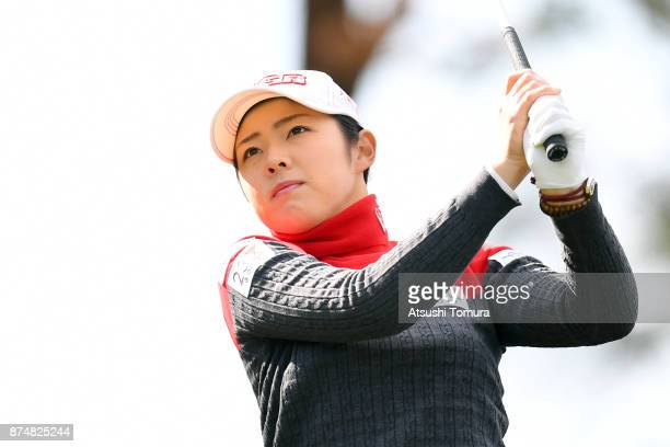 Rie Tsuji of Japan hits her tee shot on the 15th hole during the first round of the Daio Paper Elleair Ladies Open 2017 at the Elleair Golf Club on...