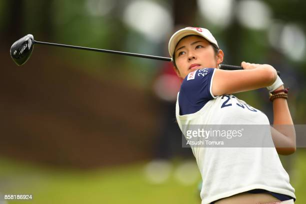 Rie Tsuji of Japan hits her tee shot on the 2nd hole during the first round of Stanley Ladies Golf Tournament at the Tomei Country Club on October 6...