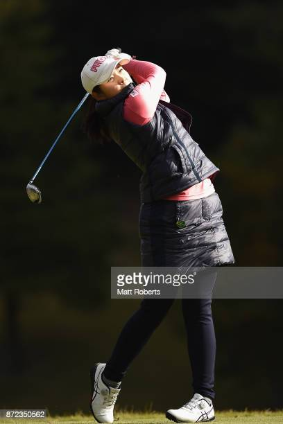 Rie Tsuji of Japan hits her tee shot on the 2nd hole during the first round of the Itoen Ladies Golf Tournament 2017 at the Great Island Club on...