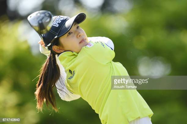 Rie Tsuji of Japan hits her tee shot on the 2nd hole during the second round of the CyberAgent Ladies Golf Tournament at the Grand Fields Country...