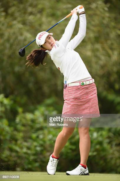 Rie Tsuji of Japan hits her tee shot on the 4th hole during the final round of the Yonex Ladies Golf Tournament 2016 at the Yonex Country Club on...