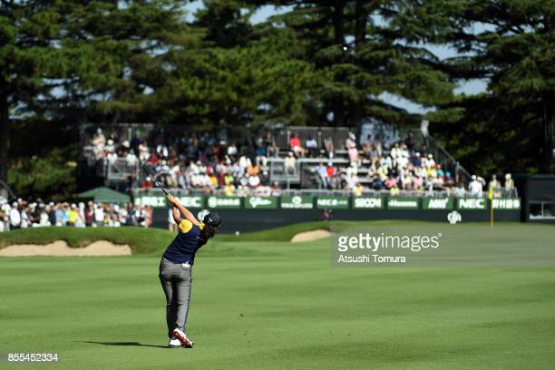 Rie Tsuji of Japan hits her third shot on the 18th hole during the second round of Japan Women's Open 2017 at the Abiko Golf Club on September 29...