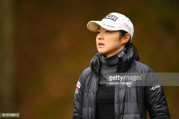 Rie Tsuji of Japan hits looks on during the second round of the Daio Paper Elleair Ladies Open 2017 at the Elleair Golf Club on November 17 2017 in...