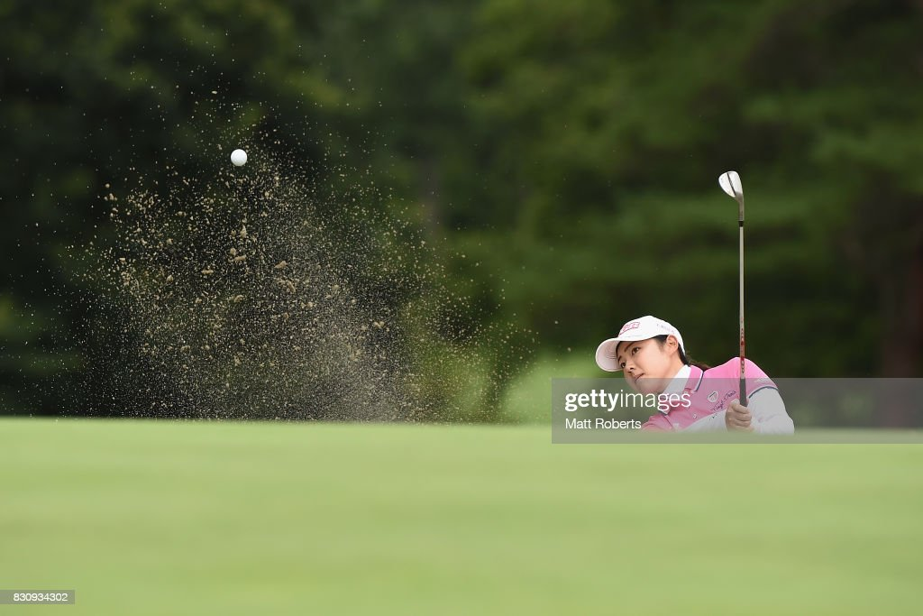 Rie Tsuji of Japan hits out of the 14th green bunker during the final round of the NEC Karuizawa 72 Golf Tournament 2017 at the Karuizawa 72 Golf North Course on August 13, 2017 in Karuizawa, Nagano, Japan.
