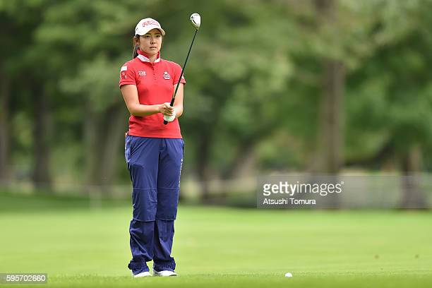 Rie Tsuji of Japan lines up her second shot on the 9th hole during the second round of the Nitori Ladies 2016 at the Otaru Country Club on August 26...