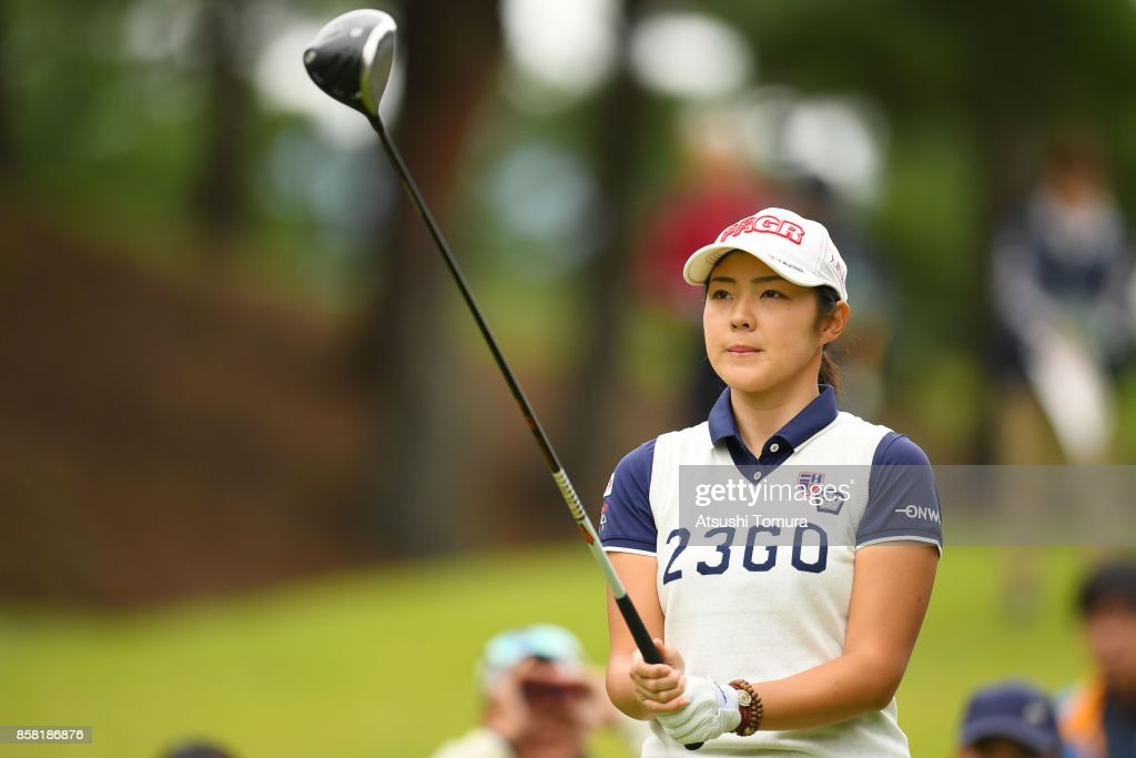 Rie Tsuji of Japan lines up her tee shot on the 2nd hole during the first round of Stanley Ladies Golf Tournament at the Tomei Country Club on October 6, 2017 in Susono, Shizuoka, Japan.