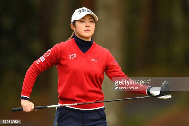 Rie Tsuji of Japan lines up her tee shot on the 5th hole during the third round of the Daio Paper Elleair Ladies Open 2017 at the Elleair Golf Club...