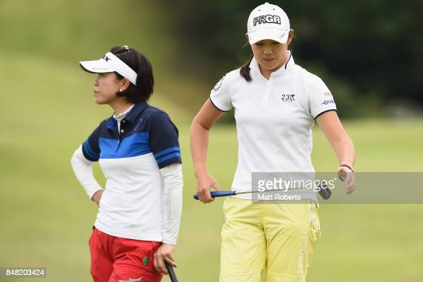 Rie Tsuji of Japan looks dejected after her putt on the 18th green during the final round of the Munsingwear Ladies Tokai Classic 2017 at the Shin...