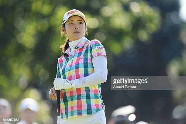 Rie Tsuji of Japan looks on during the final round of the Nitori Ladies 2016 at the Otaru Country Club on August 28 2016 in Otaru Japan