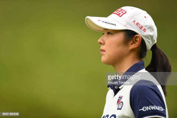 Rie Tsuji of Japan looks on during the first round of Stanley Ladies Golf Tournament at the Tomei Country Club on October 6 2017 in Susono Shizuoka...