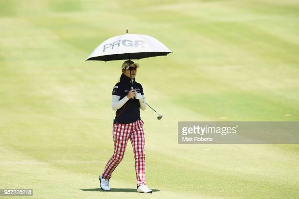 Rie Tsuji of Japan looks on during the first round of the Hoken No Madoguchi Ladies at the Fukuoka Country Club on May 11 2018 in FukuokaJapan