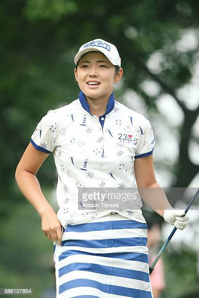 Rie Tsuji of Japan looks on during the first round of the meiji Cup 2016 at the Sapporo Kokusai Country Club on July 31 2016 in Narusawa Japan