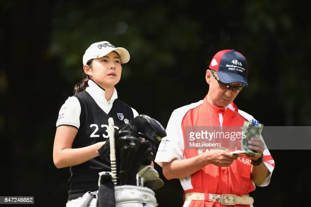 Rie Tsuji of Japan looks on during the first round of the Munsingwear Ladies Tokai Classic 2017 at the Shin Minami Aichi Country Club Mihama Course...