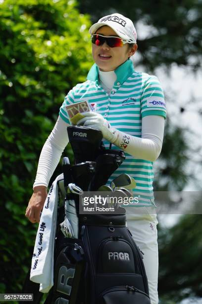 Rie Tsuji of Japan looks on during the second round of the Hoken No Madoguchi Ladies at the Fukuoka Country Club on May 12 2018 in FukuokaJapan
