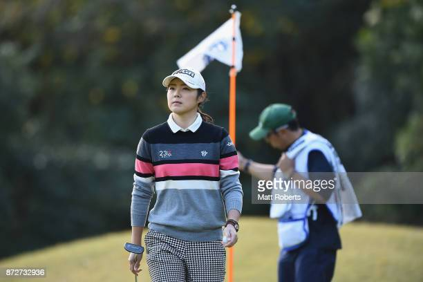 Rie Tsuji of Japan looks on during the second round of the Itoen Ladies Golf Tournament 2017 at the Great Island Club on November 11 2017 in Chonan...