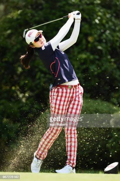 Rie Tsuji of Japan plays her tee shot on the 12th hole during the first round of the Hoken No Madoguchi Ladies at the Fukuoka Country Club on May 11...