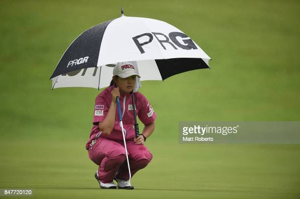 Rie Tsuji of Japan prepares to putt on the 18th green during the second round of the Munsingwear Ladies Tokai Classic 2017 at the Shin Minami Aichi...
