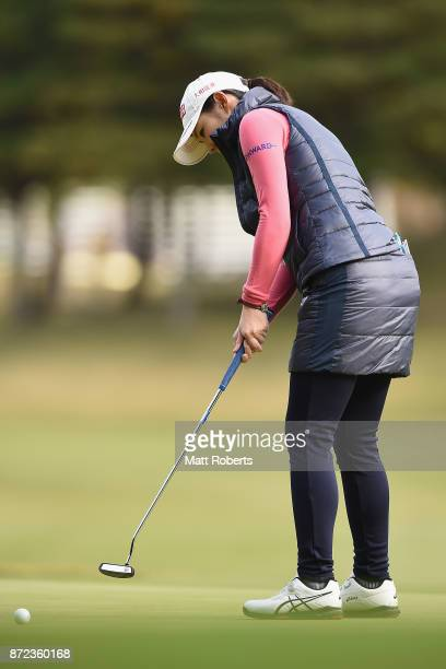 Rie Tsuji of Japan putts during the first round of the Itoen Ladies Golf Tournament 2017 at the Great Island Club on November 10 2017 in Chonan Chiba...