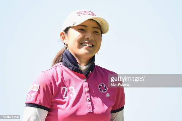 Rie Tsuji of Japan reacts after her putt on the 3rd green during the third round of the 50th LPGA Championship Konica Minolta Cup 2017 at the Appi...